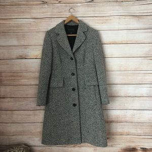 Banana Republic Black / White Tweed Wool Long Coat